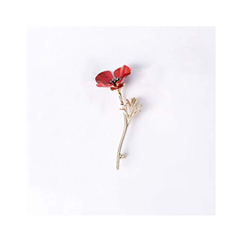 Retro Red Enamel Plant Flowers Brooch, Unisex 3 Colour Poppy Flowers Branch Brooch for Women Girls Party Gifts (Gold) ()