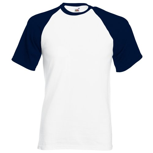 Fruit of the Loom Mens Short Sleeve Baseball T-Shirt (3XL) (White/Deep (Fruit Of The Loom Polo)
