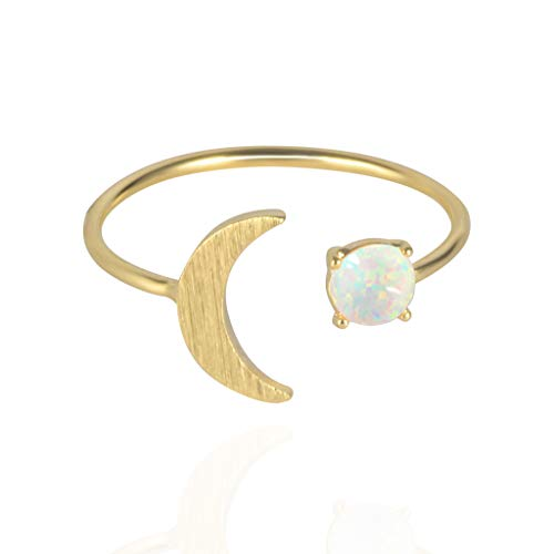 MUSTHAVE 18K Rose/White/Yellow Gold Plated Moon Opal Ring, White/Green/Pink Opal Ring, Adjustable Size (Yellow Gold) ()