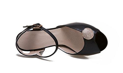 alla di dimensioni Sandali tacco caviglia pompe Donne alto cinturino 2018 Peep Toe Retro grandi strass Black 76xzBqp