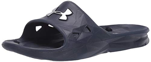 Under Armour Men's Locker III Slide Sandal, Midnight Navy (410)/Metallic Silver, 7