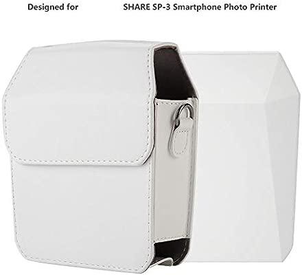 Estuche para cámara, Estuche Protector de Cuero PU para Fuji Instax Share SP-3 Smartphone Photo Printer (Blanco)