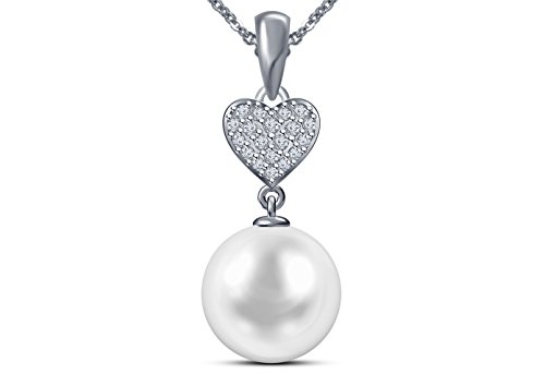 Issami 9 mm White South Sea Cultured Pearl Pendant AAA Quality 14K White Gold with 0.11 Carat Diamond Pendant for Women ()