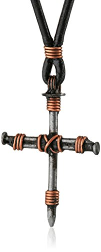 Bob Siemon Stainless Steel Nail and Copper Wire Cross Pendant on Leather Cord, 30""