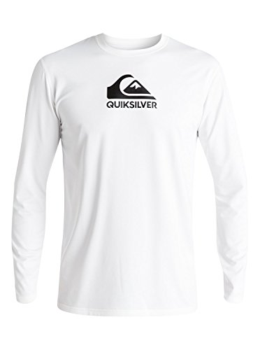 Quiksilver Men's Solid Streak Long Sleeve Rashguard, White, Medium