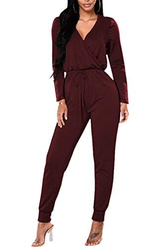Fixmatti Women Fashion V Neck Wrap Front One Piece Long Jumpsuit Romper Outfit Burgundy L (Wrap Jumpsuit)