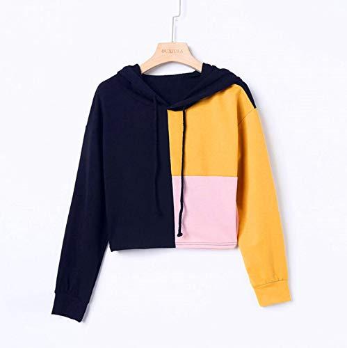 Rambling Women Teen Girls Cropped Hoodies, 2018 Fashion Long Sleeve Patchwork Crop Top Sweatshirt by Rambling (Image #3)