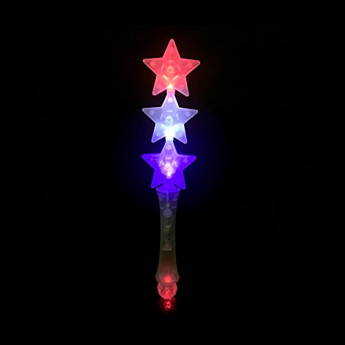 Fun Central O559, 13 inches LED Light Up Triple Star Wand, Glow Wand For Kids, Light Up Magic Wand, Perfect for Patriotic Parties, Independence Day and Memorial Day, Glow-themed Parties,Birthdays – in White, Blue, Red Star Colors