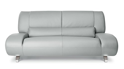 Zuri Furniture Modern Aspen Light Grey Microfiber Leather Loveseat