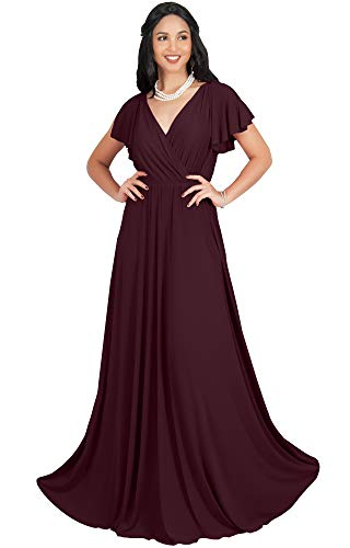 KOH KOH Plus Size Womens Long V-Neck Sleeveless Flowy Prom Evening Wedding Party Guest Bridesmaid Bridal Formal Cocktail Summer Floor-Length Gown Gowns Maxi Dress Dresses, Maroon Wine Red 2XL 18-20