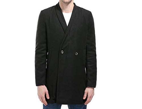 Solid Woolen Overcoat Turn Black Breasted Double Down Collar Energy Mid Men's Coat Length wx8z8P