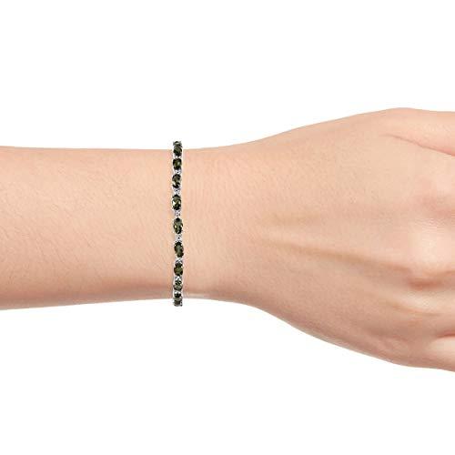 "925 Sterling Silver Tennis Bracelet Platinum Plated Oval Moldavite Jewelry Size 7.25"" Cttw 3.2"