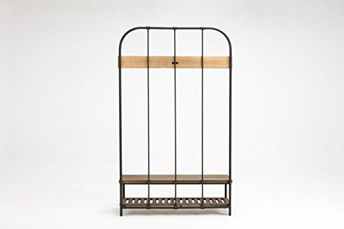 Burnham Home Annie Hall Tree - Beautiful Fir wood shelves/Bench and metal frame Five metal hooks perfect for hanging coats, jackets, or hats Comfortable Bench and shelf for storing shoes - hall-trees, entryway-furniture-decor, entryway-laundry-room - 31Y70PQ2QLL -
