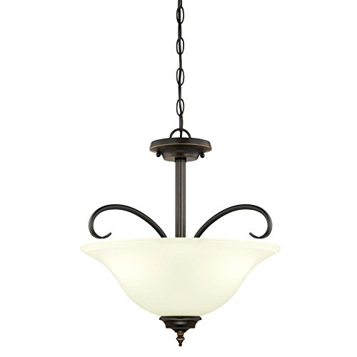 Westinghouse Lighting 6304400 Harwell Three-Light Indoor Convertible Pendant/Semi-Flush Ceiling Fixture, Amber Bronze Finish with Frosted Glass, Rubbed