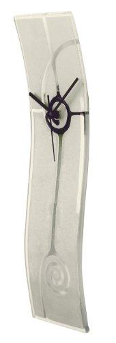 River City Clocks Pearl Glass Clock with Transparent Swirl Design, (Pearl White Clock)