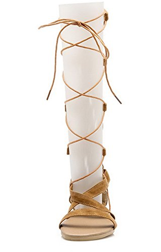 Sandals Frosted Women VogueZone009 Heels Solid Open Lace up Toe Brown Low BBq7zwFp
