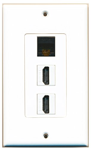 RiteAV - 1 Cat6 Black Ethernet Port and 2 HDMI Female Decorative Wall Plate - White ()