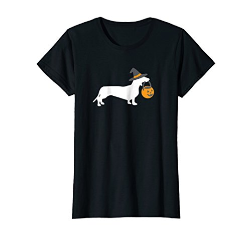 Womens Dachshund Halloween T-Shirt, Funny Cute Doxie Dog Owner Gift Large (Matching Costumes For Dog And Owner)