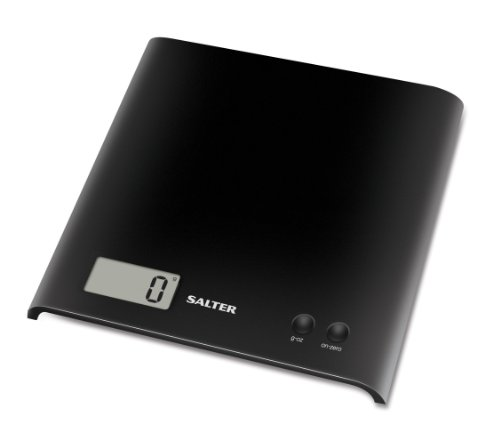 Salter Arc Digital Kitchen Scales – As Seen on The Great British Bake Off, Electronic Food Weighing, Slim Design Cooking Scale for Home, LCD Display, Add & Weigh, Compact Storage, Easy Clean – Black
