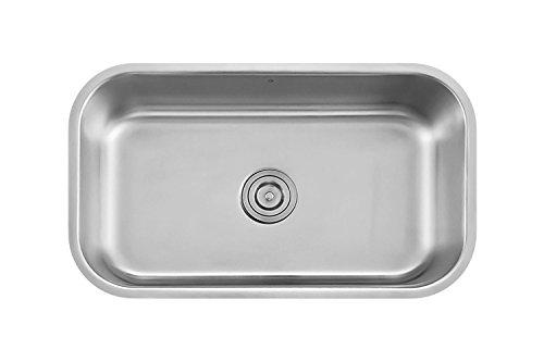 Large Single Kitchen Sink (Z Sinks Milan30 Series Stainless Steel Kitchen Sink Milan, Undermount Single Bowl with Strainer, 30