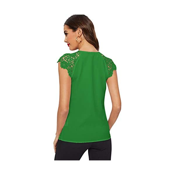 WDIRARA Womens Slim Lace Cuff Tee Long Sleeve Stand Collar Elegant Blouse Black M