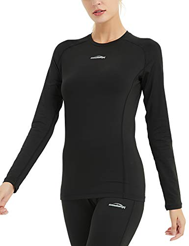- COOLOMG Women's Compression Shirts Crewneck Long Sleeve Cool Dry Base Layer Top Black X-Large