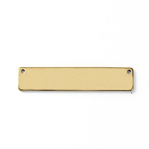 9 Count Gold Plated Stainless Steel Rectangle Bar Metal Stamping Blank Tag with Two Holes 39mm x 8mm (Art Rectangle Charm Gold Plated)