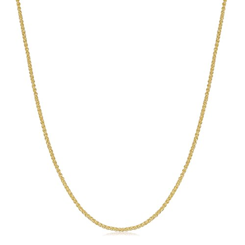 - Kooljewelry 18k Yellow Gold 0.8 mm Round Wheat Chain Necklace (18 inch)