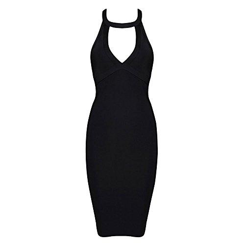 Kunstseide Kleid Schlüsselrozette Frauen Ansatz HLBandage Verband Halter Rückenfreie Schwarz PxwXvxnOqF