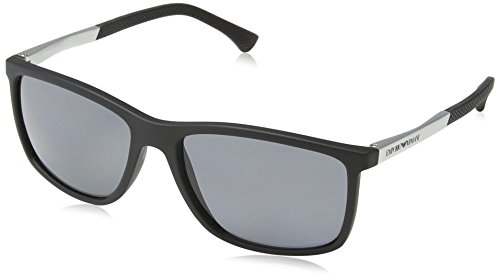 Emporio Armani EA4058 506381 Matte Black EA4058 Square Sunglasses Polarised ()