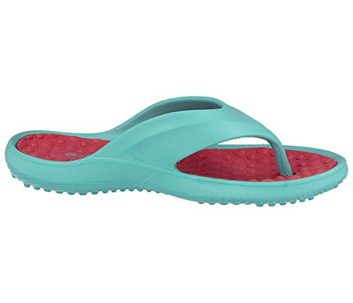 Ladies White Pink Eva Toe Post Flip Flop Surf Sandals New Summer Flat Beach Shoe Turquoise/Pink 6yzLKy9n