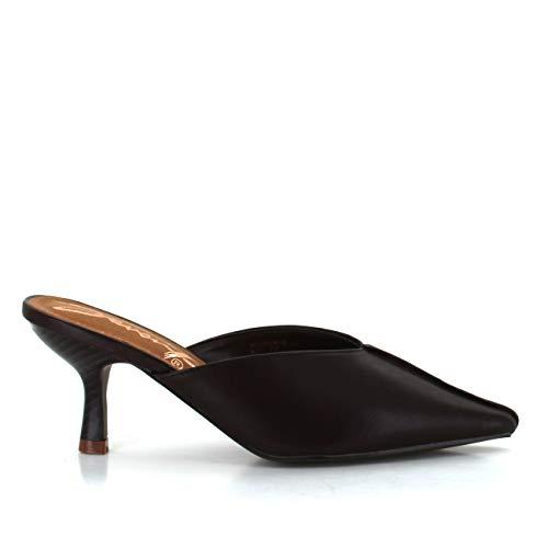 Seven7 Women's Melania Kitten Heel Mule Pointy Toe Vegan Leather Dress Slip-On Shoes Espresso 10 ()