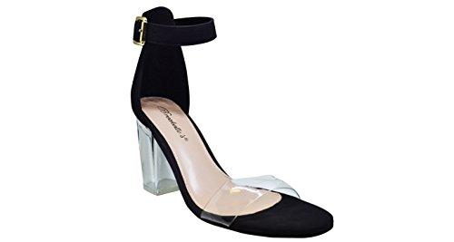 Breckelles Dames Tango-11 Verstelbare Enkelband Dikke Blok Transparante Hoge Hak Sandalen Zwart