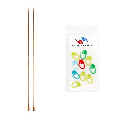 Knitter's Pride Knitting Needles Dreamz Single Point 14 inch (35cm) Size US 5 (3.75mm) Bundle with 10 Artsiga Crafts Stitch Markers 200433