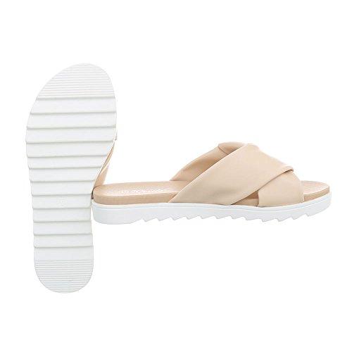 Damen Schuhe Sandaletten Pantoletten Beige