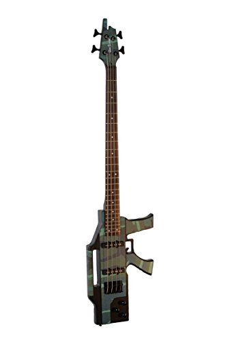 Custom Crafted Camouflage Machine Gun 4 String Electric Bass (Base) Guitar w/ Gig Bag & Cable & DirectlyCheap(TM) Translucent Blue Medium Guitar Pick by Directly Cheap