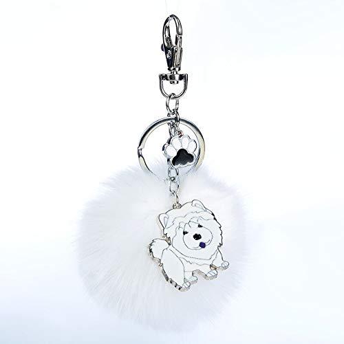 - Key Chains - Rabbit Fur Pompom Chow Chow Key Chains for Women Men Alloy Pom Pom Ball Pet Dog Pendant Bag Charm Keyring Car Keychain Key Ring - by NTNH12-1 PCs