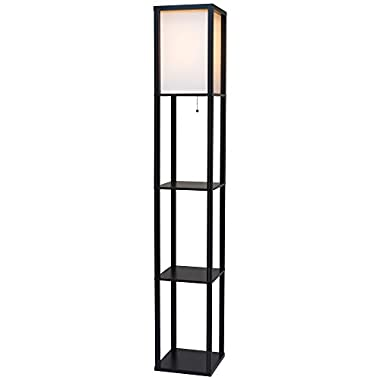 Toro 62.5  Wood Floor Lamp with Shelves & Off White Shade + 100W Energy Efficient Bulb