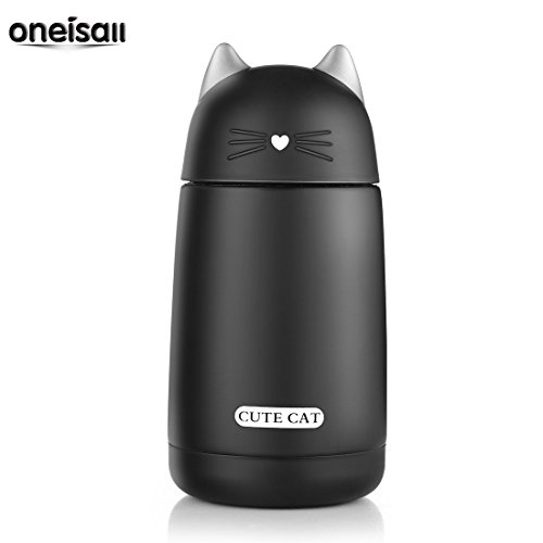 ONEISALL SB60239 300ML Kids Thermos Bottle Cute Cat Thermos Mug Stainless Steel Cat Water Bottle with Portable Handle (Black)