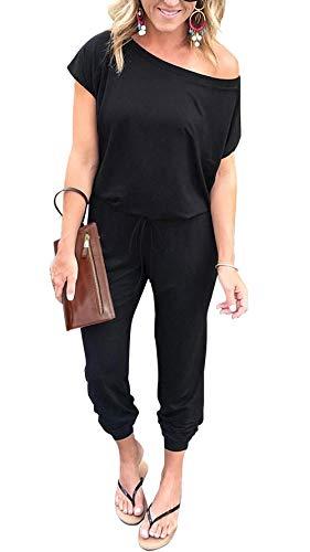 PRETTYGARDEN Women Casual Short Sleeve One Shoulder Solid Waisted Long Jumpsuit Romper Black