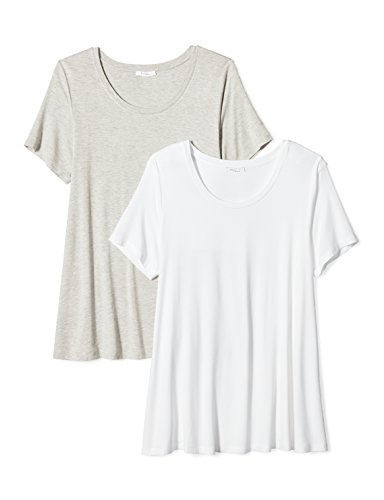 Daily Ritual Women's Plus Size Jersey Short-Sleeve Scoop Neck Swing T-Shirt, 2-Pack, 5X, White/Light Heather (Ladies Scoop Neck Tee)