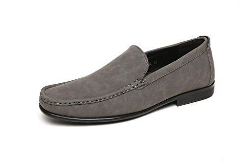 Hombre Mocasines Casuales Deslizarse Conducción Zapatos Moda Estilo Italiano Diseñador Mocasin Tallas GB Gris