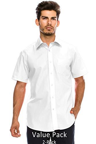 JC DISTRO Value Pack Men's Regular-Fit Short Sleeve Dress Shirt, White Shirts (2XL)