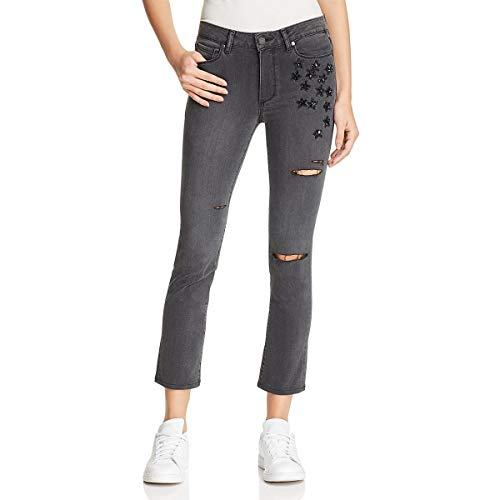 PAIGE Womens Jacqueline Destroyed Beaded Straight Crop Jeans Gray 32
