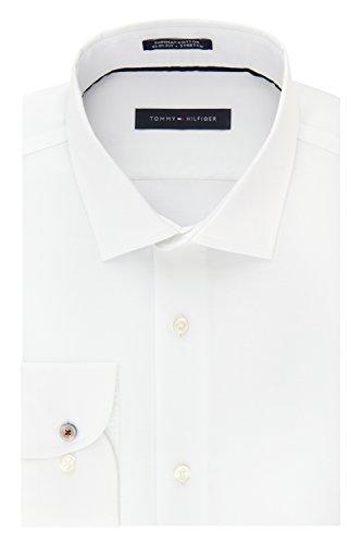 (Tommy Hilfiger Men's Dress Shirt Stretch Slim Fit Solid, Pearl White, 17.5