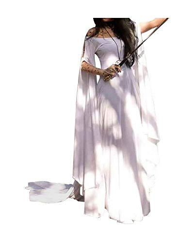 Momo Womens Plus Size Greek Roman Goddess Costume Renaissance Medieval Costume Dress Over Long Dresses White