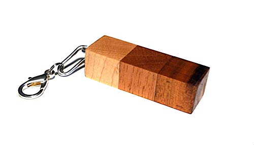 Unique wooden teak mahogany oak keychain; Exotic wood key chain; Runescape inspired charm key ring; Natural oil finished; Handcrafted in Washington State;