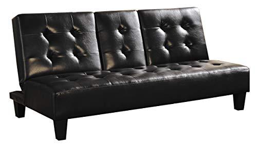 Benzara BM170241 Leatherette Convertible Sofa Bed, Black