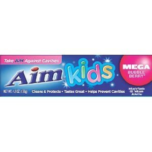 Aim Kids Mega Bubble Berry Anticavity Fluoride Gel Toothpaste - 4.8 Ounce (2-Pack)