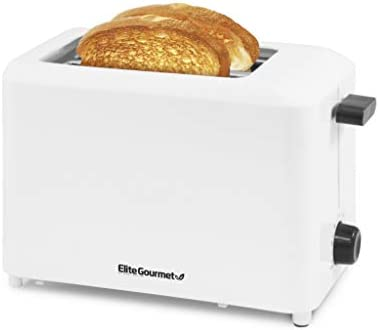 "Elite Gourmet ECT-1027 Cool Touch Toaster with 7 Temperature Settings & Extra Wide 1.5"" Slots for Bagels, Waffles, Specialty Breads, Puff Pastry, Snacks, UL Certified, 2 Slices, White"